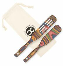 Rainbow 2-Pc Pakka Wood Spurtle Set Kitchen Utensils Wooden Cooking Spoons Tools