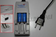 2 PILES ACCUS RECHARGEABLE CR123A 16340 3.7V 1200mAh + CHARGEUR TR-001 TRUSTFIRE