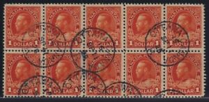 Canada Sc #122b (1923) $1 deep orange Admiral Block of 10 VF Used CDS
