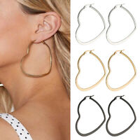 Women Large Hoop Heart Shaped Earrings Stainless Steel Round Circle Jewelry Acc