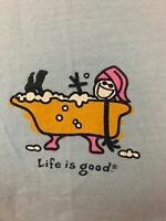 "LIFE IS GOOD blue cotton short sleeve ""BATHTUB"" Tshirt Women's L NEW"