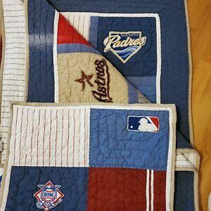 "Pottery Barn MLB Baseball Sports Quilt Comforter 64x82"" Cotton Sham Reversible"