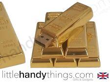 Novedad Metal Oro Bar 8GB USB Flash Drive de Portátil Pen Drive Tarjeta de memoria