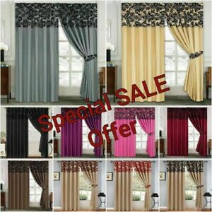 Half Flock Damask Curtains Satin bedroom Living Room Doors Windows Curtain