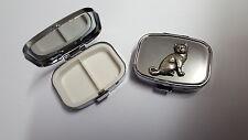British Shorthair Cat PP-C03 English Pewter Emblem on Rectangular Metal Pill Box