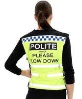 Equisafety Lightweight Polite Reflective Hi-Vis Waistcoat Please Slow Down S-XXL