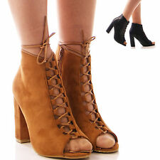 High (3-4.5 in.) Block Lace-up Synthetic Shoes for Women