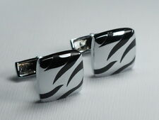 Men's Silver & Black Unique Gorgeous Square Suit Cufflinks
