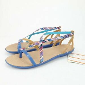 Crocs Isabella Gladiator Womens Geometric Blue Jean Gold Strappy Sandals Size 11