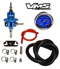 VMS RACING ADJUSTABLE FUEL PRESSURE REGULATOR GAUGE KIT BLUE FOR SUBARU WRX STI