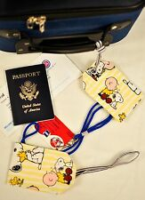 """hand crafted fabric luggage tags set of 2 secure info 3.5"""" X 5.5"""" PEANUTS!"""