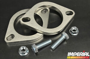 2x 2.5in/64mm UNIVERSAL EXHAUST FLANGE 2 BOLT stainless steel decat system