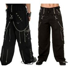 Gothic Men Black Chrome Trousers Punk Rock Studs Metal And Chain Trouser Pan