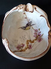 Coupe à fruits centre de table porcelaine et bronze HAVILAND Décor aux  oiseaux df70072bdce