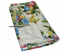 Double Layer Kantha QuiltThrow Blanket Vintage Quilt Bohemian Bedspread Coverlet