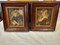 Antique Victorian Portraits Girls Dresses Hats Wood Frames Pair