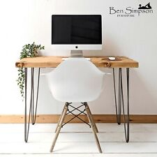 Rustic Desk Table Sideboard Chunky Solid Wood Hairpin Legs BEN SIMPSON FURNITURE
