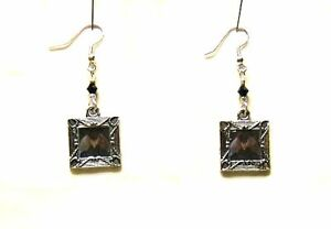 HALLOWEEN FLYING BAT ALTERED ART CHARMS SILVER PLATED EARRINGS CRYSTAL ACCENTS
