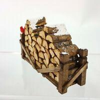 "Dept 56 Snow Village 4 x 2"" Fire Wood Pile w Cardinal Bird Gnome Fairy Garden"