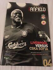 Liverpool V CSKA Sofia 2005 champions league programme