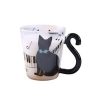 Cute Creative Cat Kitty Glass Mug Cup Tea Cup Milk Cup Coffee Cup Piano Cat