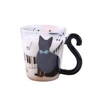 Cute Creative Cat Kitty Glass Mug Cup Tea Cup Milk Cup Coffee Cup Piano Cat