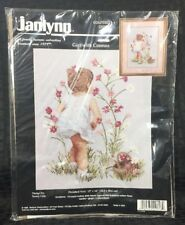 Janlynn Girl with Cosmos Counted Cross Stitch Kit 29-18 Nancy Cole 1995 12x16
