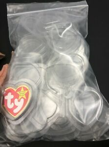 (25)x Tag Protectors TY Heart Shape Beanie Baby Clear Storage Holders