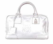 Divine Auth LOEWE Amazona bag in silver gray color with lock and keys.