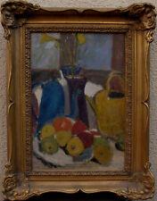 Stillleben mit gelber und blauer Kanne und Obst, Monogramm VC, um 1940
