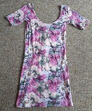 Floral Mini Dress / Long Top Scoop Neck Size 10