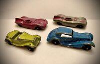 TOOTSIE TOYS - 1950s VINTAGE METAL CAR LOT - JAGUAR-ROADSTER-MERCEDES (4 Cars)