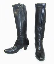 TROTTERS OLD MAINE Black Leather Lined Zipper Knee High Boots Size 6 M