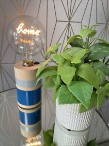 """Bundleberry by Amanda Holden Neon Word Lamp with Wooden Base """"Home"""" New Decor"""
