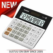 Casio MH12-WES Wide 12 Digit Calculator|Extra Large Display|Solar+Battery|White|