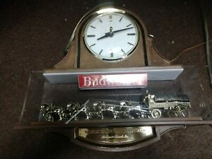 Vintage Budweiser Lanshire Clock Clydesdale Horse Beer Sign Antique Rare Item