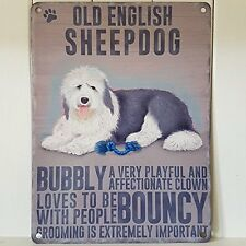 Dog Metal Sign -Old English Sheepdog- Metal Sign Nostalgic  Gift 20cm x 15cm