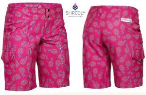 SHREDLY mountain bike short pink pina mtb loose fit stretch vent zips XS women 0