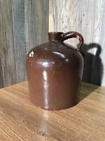 Antique Stoneware Brown Glazed Whiskey Jug Crock Pottery With Handle G5