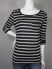Heart & Hips Black & White Striped 3/4 Sleeves Pocket Shirt sz L Large #59