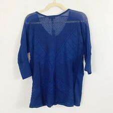 NEW The Limited Blue V Neck Sweater Size Small Open Crochet Back 3/4 Sleeves