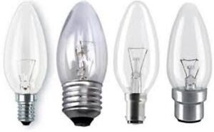 10 x Clear Candle Light Bulbs Choice of Fitting Wattage Free UK P&P Options redu
