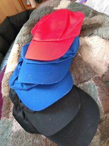 JOBLOT 5 kids Baseball Caps Blue/Red/Black - new - see pics