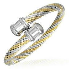 9.2 Stainless Steel 2 Color Celtic Twisted Cable Wire Torc Cuff Bangle Length