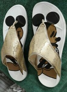 Mickey Mouse Women's L (9-10) Summer Beach Flip Flop Gold Sequins Thong Sandals