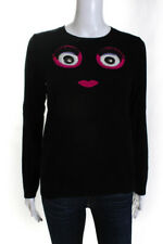 Kate Spade New York Womens Eyes and Lips Crewneck Sweater Black Pink Size XS