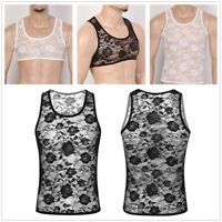 Mens Sleevelesss Mesh Lace Muscle Crop Top Fitness Sheer Tank Top Vest T-shirt