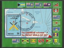 NEVIS 2007 ICC CRICKET WORLD CUP FLAGS MAP Souvenir Sheet FINE USED