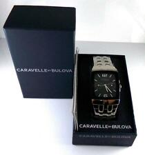 NEW Caravella Bulova Stainless Steel Cronograph Black Dial Watch With Box QX