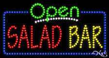 """NEW """"OPEN SALAD BAR"""" 32x17 SOLID/ANIMATED LED SIGN W/CUSTOM OPTIONS 25564"""